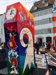 Die Rückseite der Laterne der «Höibärgler« an der Laternenausstellung auf dem Münsterplatz 2019