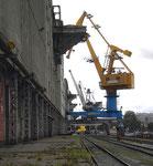 Krananlagen und Silos der RHENUS (vorm.NEPTUN) im Hafenbecken 1, 2010