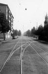 Im Jahre 1930 wurden in der Kleinhüninger-Anlage bereits Tramschienen verlegt. Vorstufe für ein Tram nach Weil am Rhein? Foto von 1959
