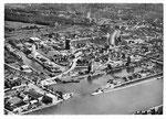 Ansichtskarte Basel. Rheinhafen Kl.Hüningen (Luftphoto Aviatik beider Basel - Verlag Gebr.Frey Basel)