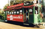 Der Trammotorwagen Be 2/2 Nr.190 (ELCO-Werbung) fuhr während der BÜFA 1989 die Besucher vom Bahnhof SBB zur Mustermesse und zurück