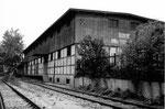 Die Lagerhalle der BLG (Basler Lagerhaus-Gesellschaft) im DB-Areal in der Erlenmatt, 1983