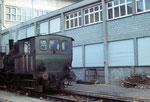 Die Rheinhafen Dampflokomotive E 3/3 der Schweizerischen Reederei während es Rangierens im Hafenbecken 1, 1973 (Diese Lokomotive steht nun im Locorama in Romanshorn)