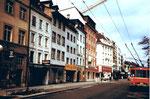 Die Rebgasse mit Blick gegen den Claraplatz, 1978