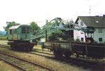 Der Eisenbahnkran der Kandertalbahn im Bahnhof Wollbach 1980