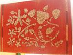 tela con stencil e sabbia dorata
