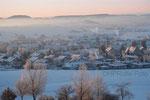 Morgenstimmung mit Blick auf Aasen mit Alpenpanorama im Januar 2009