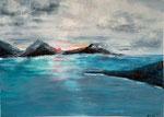 Deep Sun, Acryl auf Papier, 50x70