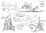 Caricatures de véhicules, de bâtiment, d'objet et de décor