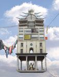 Photo-montage d'un bâtiment à partir de plusieurs morceaux de différents immeubles, à la manière de Laurent Chéhère