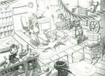 Illustration d'un magasin à l'état de crayonnée