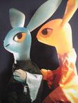 "Lapins en résines teintés ""Lapins carottes"" 2004 TMG"