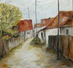 Dorfstraße in  Siebenbürgen, 2018, Öl auf Leinwand, 50x50cm, verkauft