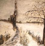 Winterweg, 2018, Mischtechnik auf Leinwand, 50x50 cm