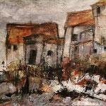 Einsame Häuser, 2018, Mischtechnik auf Leinwand, 30x30 cm, verkauft