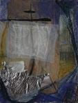 Überfahrt I, 2004, MT/Collage, 27x35cm