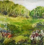 Waldrand in B.,2019, Mischtechnik auf Leinwand, 50x50 cm, verkauft