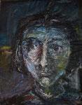 Blaue Gedanken, 2005, MT/Collage, 70x90cm, verkauft