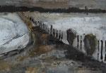 Weg im Mondlicht, 2017,MT/Collage auf Karton,32,5x22,5cm
