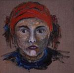 Mädchen mit rotem Tuch, 2006, Acryl auf Leinwand, 30x30cm, verschenkt