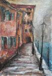 Canal Misericordia/Venedig, 2017, MT/Collage auf Karton, 27x35cm, verkauft