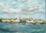 Boote im Hafen, Dänemark 2020, Öl /Collage auf Leinwand