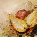 Granatapfel und Quitten, Collage 2019, verkauft