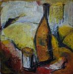 Stillleben mit Flasche&Glas, 2007, Acryl/Collage auf Leinwand, 50x50cm, verkauft