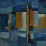 Gelb gegen Blau, 2009, Acryl/Collage auf Leinwand, 40x40cm, verkauft