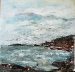 Bewegte Bucht,2016, Collage/Öl auf Leinwand, 60x60cm, verkauft