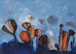 Mondblumen, 2014, MT auf Leinwand, 70x50cm, verkauft