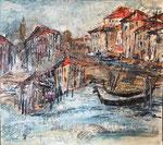 Venezia,2019, Collage auf Hartfaserplatte, ca. 50x53cm, verkauft