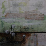 Grüne Landschaft mit Löwenzahn, 2010, Collage, 39 x 39 cm, verkauft