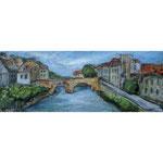 Am Fluss/ Dinan, Bretagne, Collage 2021