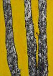 Bäume im Schnee, 100x70cm, Acryl Collage