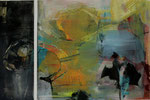 Acryl-Collage -  Rahmen 50 x 70 cm - Seerosen