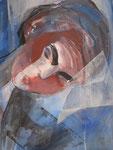 Acryl -  Rahmen 60x50 cm - Frieda Kahlo-Frau im Zug
