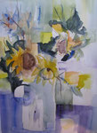 Aquarel - Rahmen 60x50 cm - Sonnenblumen2