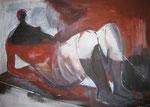 Leinwand-Acryl - 70x50 cm  - Henry Moore-Liegende