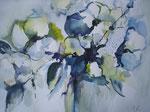 Aquarell - Rahmen 50x40 cm - Blumenstrauß in Blau