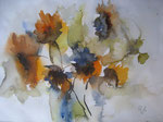 Aquarell - Rahmen 40x30 cm - Sonnenblumen1