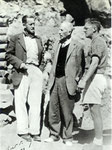 In the cave of the Hearths, Makapan, South Africa. From left: Peter van Rite Lowe, Teilhard, and Revil Mason 1953
