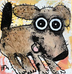 Chien heureux 8''x8'' on canvas