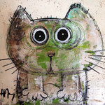 Chat vert 8''x8'' on kraft paper