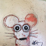 Souris blanche 8''x8'' on canvas