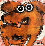 Chien joyeux 8''x8'' on canvas