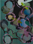 Kizilveng, 2011, Acryl auf schwarzem Gesso auf Leinwand, 56 x 42 cm