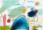 TRYING TO SEE THE SOUL, 2015, Acryl, Pastell, Kohle, Bleistift und  Buntstift auf Papier, 30 x 40 cm