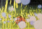 O. T. (therm), 2015, Acryl, Tusche, Lack, Collage auf Papier, 70 x 100 cm