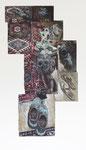 Arjan van Helmond, CORRIDOR #11 (shoes), 2014, Tinte, Gouache und Acryl auf Papier, 132 x 248 cm